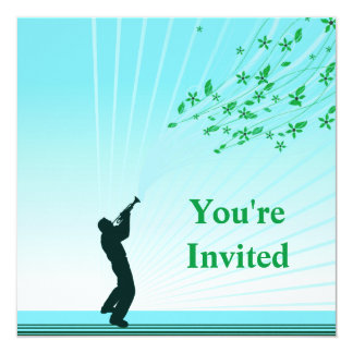 Trumpet Player Melody Flows 5.25x5.25 Square Paper Invitation Card