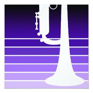 """trumpet : purple fade 5.25"""" square invitation card"""