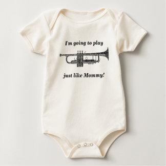 Trumpet Shaped Word Art Black Text Baby Bodysuit