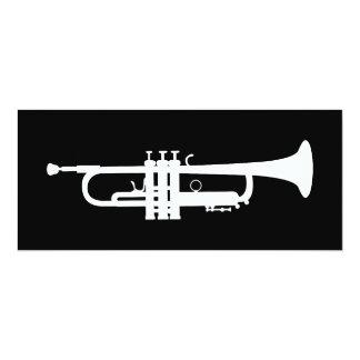 trumpet silhouette 10 cm x 24 cm invitation card