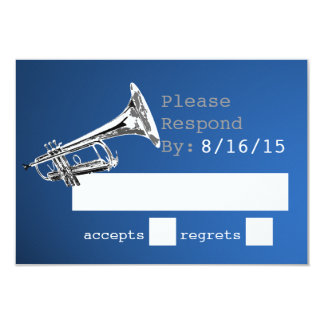 Trumpet Silver and Blue Response 3.5x5 Paper Invitation Card