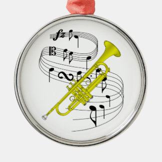 Trumpet Silver-Colored Round Decoration