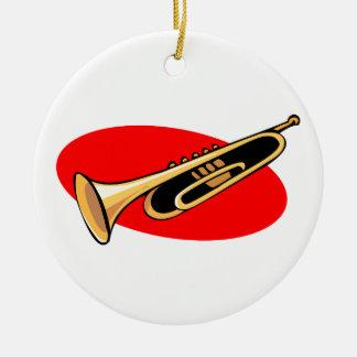 Trumpet Simple Design Red Background Round Ceramic Decoration