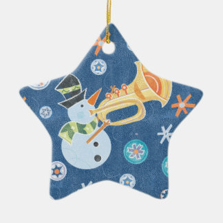 Trumpet Snowman Making Christmas Holiday Music Ornaments