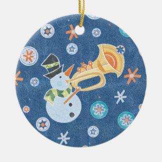 Trumpet Snowman Making Christmas Holiday Music Round Ceramic Decoration