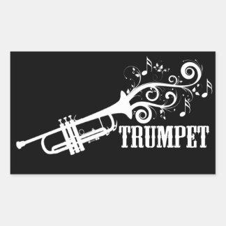 Trumpet Vector with swirls Rectangular Sticker