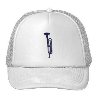 Trumpet Vertical Solid Blue Musician Graphic Hats