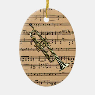 Trumpet With Sheet Music Background Ceramic Oval Decoration