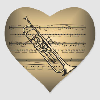 Trumpet With Sheet Music Background Heart Sticker