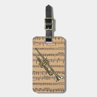 Trumpet With Sheet Music Background Luggage Tag