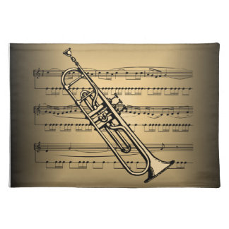 Trumpet With Sheet Music Background Placemat