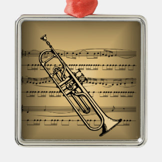 Trumpet With Sheet Music Background Silver-Colored Square Decoration