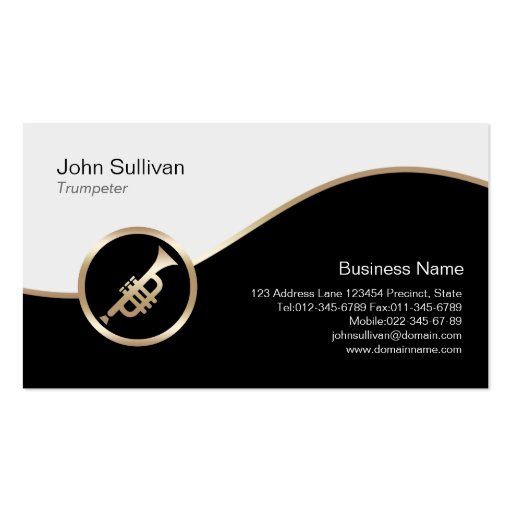 Trumpeter Business Card Gold Trumpet Icon