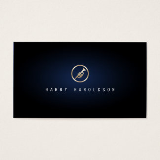 Trumpeter Elegant Gold Trumpet Icon Blue Glow Business Card