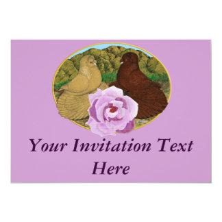 Trumpeter Pigeons and Rose 13 Cm X 18 Cm Invitation Card