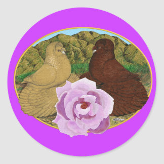 Trumpeter Pigeons and Rose Round Sticker