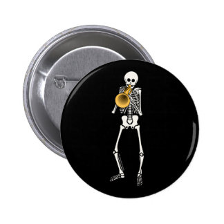 Trumpeter Skeleton 6 Cm Round Badge