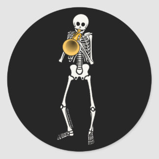 Trumpeter Skeleton Classic Round Sticker