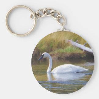 Trumpeter Swan Basic Round Button Key Ring
