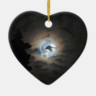 Trumpeter Swan Flying under a Full Winter Moon Ceramic Heart Decoration