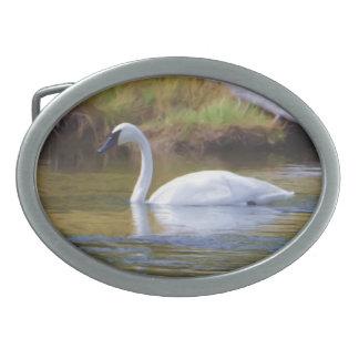 Trumpeter Swan Oval Belt Buckles