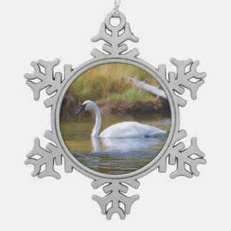 Trumpeter Swan Snowflake Pewter Christmas Ornament