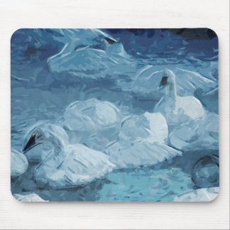 Trumpeter Swans in Winter Abstract Impressionism Mouse Mat