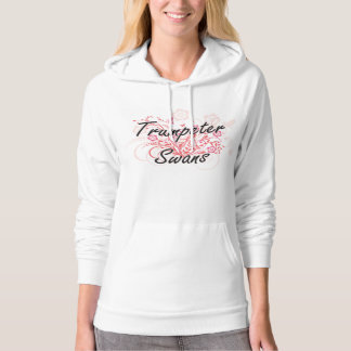 Trumpeter Swans with flowers background Hooded Sweatshirts