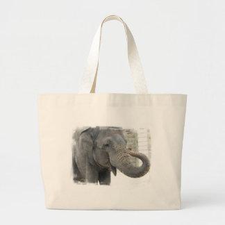 Trumpeting Elephant Canvas Bag