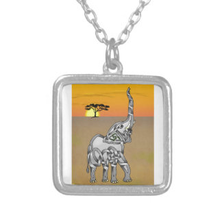 Trumpeting Elephant Silver Plated Necklace