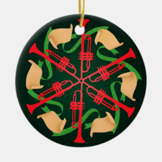 Trumpets and Ribbons Christmas Ornament