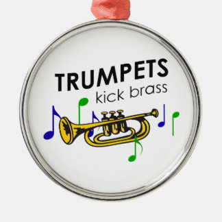 TRUMPETS KICK BRASS CHRISTMAS ORNAMENT