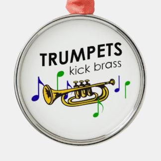TRUMPETS KICK BRASS Silver-Colored ROUND DECORATION