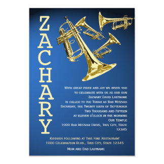 Trumpets Music Blue Gold Bar Mitzvah 13 Cm X 18 Cm Invitation Card