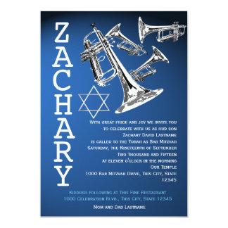 Trumpets Music Dark Blue Bar Mitzvah 13 Cm X 18 Cm Invitation Card