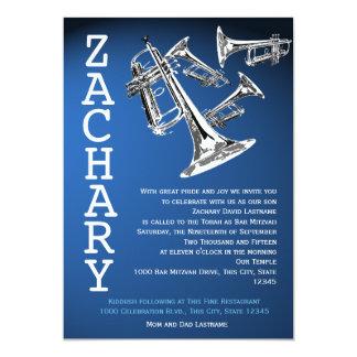 Trumpets Music Dark Blue Bar Mitzvah Custom Invitation