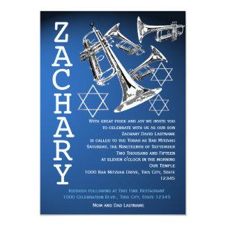 Trumpets Music Dark Blue Bar Mitzvah Cards