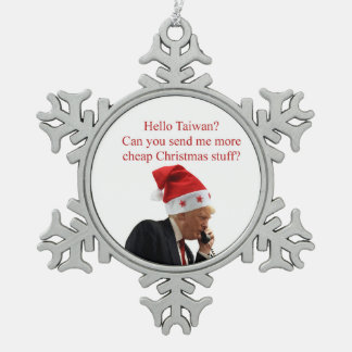 Trump's Christmas call to Taiwan Snowflake Pewter Christmas Ornament