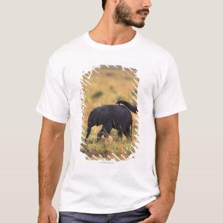 Trunk of elephant touching offspring , Kenya , T-Shirt