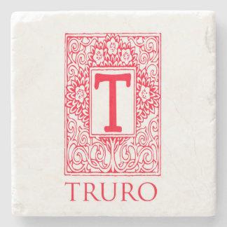 Truro Red Monogram  Stone Coaster