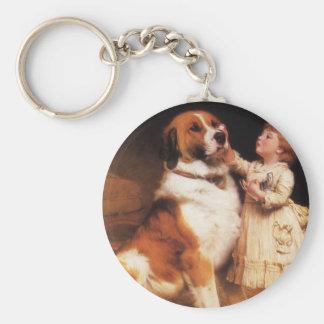 Trust by Charles Burton Barber, Saint Bernard dog Basic Round Button Key Ring