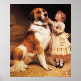 Trust by Charles Burton Barber, Saint Bernard dog Poster