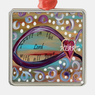 Trust in the Lord With All Your Heart Silver-Colored Square Decoration