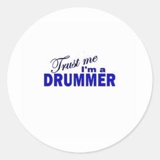 Trust Me I'm a Drummer Round Sticker