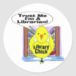 Trust Me I'm A Librarian Round Stickers