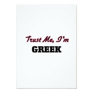"""Trust me I'm Greek 5"""" X 7"""" Invitation Card"""