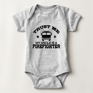 Trust Me My Uncle is a Firefighter Baby Bodysuit