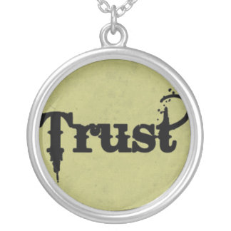Trust on Grungy Green Round Pendant Necklace