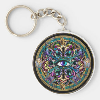 Trust Yourself ~ The Eyes of the World Mandala Basic Round Button Key Ring