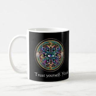 Trust Yourself ~ The Eyes of the World Mandala Basic White Mug